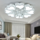 3/4/6/8 Light Heart Ceiling Light Modern Metallic White Flush Ceiling Light with Clear Crystal Ball
