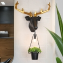 Black Deer Wall Lighting with Flowerpot Vintage 1 Light Sconce Lighting for Foyer