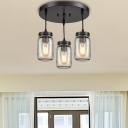 Mason Jar Ceiling Light Fixtures Contemporary Glass 3 Lights Semi Flush Light for Dining Room