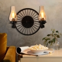 Black Wheel Wall Mounted Light Modern Iron and Glass 1/2 Light Wall Sconce Lighting for Indoor
