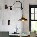 Arched Wall Mounted Light Retro Style Metal 1 Light Pulley Wall Sconce Lighting in Black for Restaurant