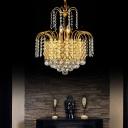 Gold Chain Crystal Ceiling Pendant Lights Modern Metal Drum Chandelier Pendant Light for Living Room