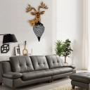 Loft Style Deer Wall Sconce Lamp Resin Single Wall Lamp in Black with Crystal Shade