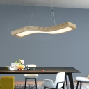 Nordic LED Wave Ceiling Pendant Light Wood Chandelier Lighting with Acrylic Diffuser
