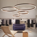 Integrated Led Loop Chandelier Lamp Minimalism Metal Ceiling Pendant with Adjustable Cord