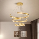 Metallic C Shape Ceiling Pendant Light Modernism Led Ambient Lighting in Gold