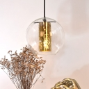 1 Light Global Hanging Pendant Light with Etched Cylinder Shade Modern Decorative Hanging Light