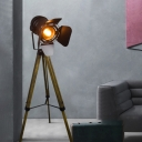 Unique Floor Lamp Country Iron and Wood 1 Head LED Lighting for Bedroom Living Room Office