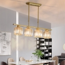 Gold Cylinder Island Light Contemporary Crystal Metal 3/4 Heads Pendant Lights over Island