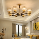 Black Brass Cylindrical Ceiling Chandelier Modern Crystal 3/6/8 Lights Ceiling Pendant Lights for Living Room