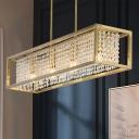 Gold/Chrome Rectangular Island Pendant Modern Crystal and Metal 4 Lights Hanging Lights over Island