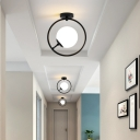 White/Yellow Glass Orb Flush Ceiling Light with Black Ring 1 Light Modern Simple Corridor Flush Light