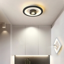 Contemporary Led Flush Mount Spotlight Metal Ceiling Flush Lighting in Black/White