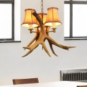 Loft Bell Chandelier Light with Fabric Shade and Resin Antler 3 Light Living Room Pendant Light