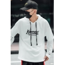Mens Hot Fashion Letter Star Printed Long Sleeve Fake Two-Piece White Casual Loose Hoodie