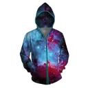 Unisex 3D Galaxy Printed Long Sleeves Luminous Zip Up Hoodie