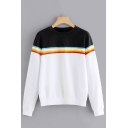 Simple Color Block Striped Print Round Neck Long Sleeves White Sweatshirt