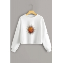 Simple Sun Pattern Round Neck Long Sleeve White Leisure Crop Sweatshirt