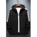 Mens New Fashion Striped Printed Long Sleeve Zip Up Hooded Jacket