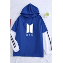 Fashion Kpop Boy Band Logo Printed Patched Long Sleeve Fake Two-Piece Loose Fit Hoodie