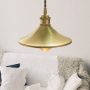 Industrial Loft Cone Pendant Light Fixture Metal 1-Light Hanging Bar Lamp in Brass
