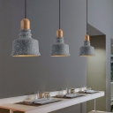 Bell Pendant Ceiling Light Modern Concrete and Wood Single Bulb Island Light Fixtures