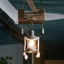 Olde Brass Pendant Lights Nautical Metal Single Light Lantern Lighting Fixture with Rope for Bar