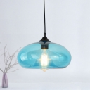 Light Blue Oval Pendant Lights Contemporary 1-Light Pendant Fixture with Clear Glass Shade