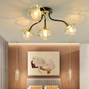 Flower Bedroom Semi Flush Mount Ceiling Fixture Glass 4/6 Light Modern Ceiling Light in Black/Gold