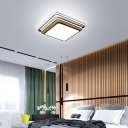 Tiered Design Square Ceiling Lighting for Bedroom Modern Simple LED Flushmount Light in Black/White