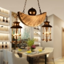 2-Light Moon Hanging Ceiling Lights Retro Style Metal Pendant Lighting for Coffee Shop