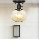 Contemporary Global Semi Flush Mount Light Steel 1 Head Semi-Flush Mount Ceiling Fixture with Glass Shade