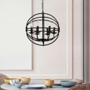 Black Sphere Pendant Ceiling Lights Retro Style Iron 6 Light Candle Hanging Lamps in Black for Kitchen Table