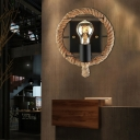 1 Light Exposed Bulb Wall Mounted Light Rustic Rope Wall Sconce for Restaurant Coffee Shop