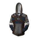 New Trendy 3D Armour Print Comic Cosplay Costume Navy Zip Up Hoodie