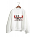 Fashion Heart Letter Scott Schrute Print Mock Neck Long Sleeve Pullover Sweatshirt