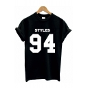 STYLES 94 Simple Letter Print Short Sleeve Loose Fit T-Shirt