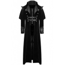 Mens Retro Gothic Grommet Embellished Long Sleeve Zipper Longline Trench Coat Overcoat