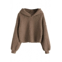 Simple Plain Long Sleeve Loose Fit Faux Fur Cropped Hoodie