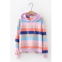 New Design Tie Back Long Sleeve Colorful Striped Hoodie For Girls