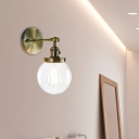 Globe Wall Lamp Sconce Industrial Clear Glass 1-Light Wall Lights with Switch for Corridor