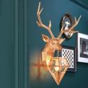 Diamond Shade Single Wall Mount Light with Deer Modernism Art Deco Resin Sconce Lamp