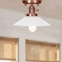 Antique Copper Semi Flush Mount Aged Metal 1 Head Flared Semi-Flush for Bedroom Living Room