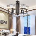 Square Chandelier Light Modern Iron Crystal Fringe Ceiling Chandelier in Black for Living Room