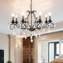 Traditional Candle Ceiling Chandelier Metal Crystal Ceiling Pendant Lights in Black for Kitchen Dining