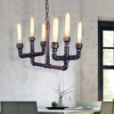 6-Light Black Ceiling Chandelier Pendant Antique Iron Pipe Ceiling Chandelier for Indoor