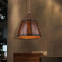 Lodge Barrel Shape Pendant Light Fixtures 1 Head Unique Bar Ceiling Lamp Light Fixtures