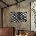Crystal Drum Pendant Light Fixture Contemporary Metal 3 Heads Hanging Chandelier for Indoor