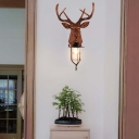 Brown Deer Wall Lamp 1 Light Rustic Industrial Resin Wall Mount Light with Clear Glass Shade