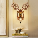 Clear Crystal Water Drop Wall Lamp Loft Style 1 Head Sconce Lighting with Resin Deer Head